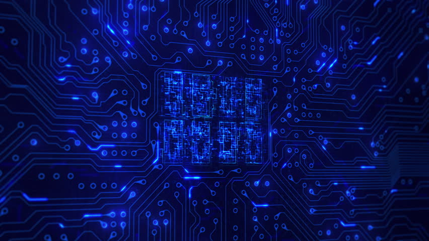 Futuristic circuit board with moving electrons. Loopable. Technology. Blue. Lateral dolly with CPU animation. More color options in my portfolio. | Shutterstock HD Video #13807229