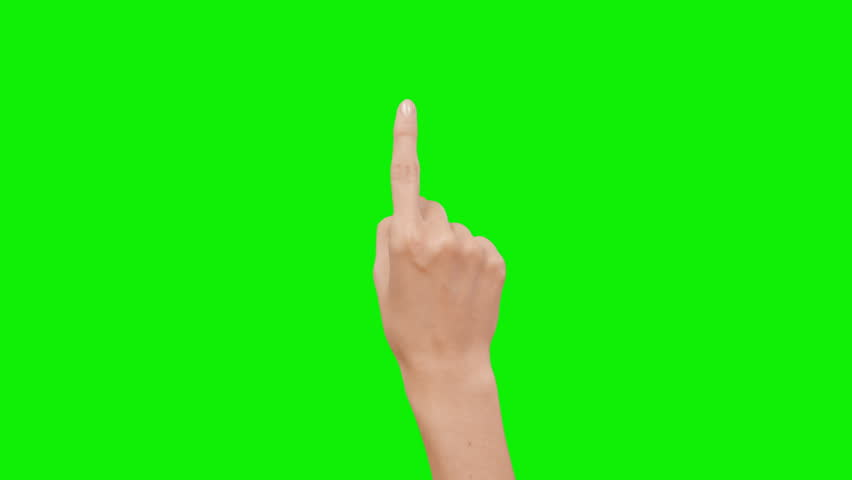 Set of 12 hand touchscreen gestures, showing the uses of computer touchscreen, tablet or trackpad. Female hand. Tablet. Green screen. #13807289