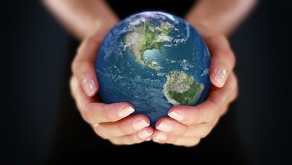Female hand holding a realistic Earth. Starting in Europe. Hands with spinning Earth. The Earth globe start showing Europe and is loopable from frame 98 to frame 547.