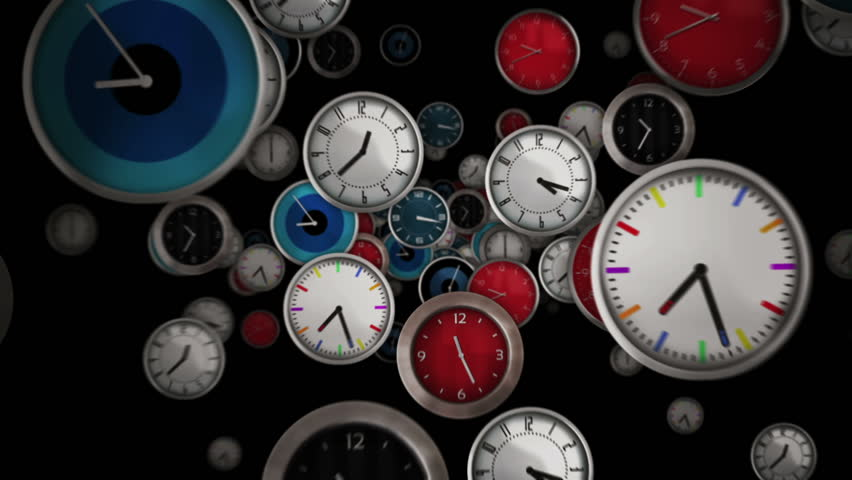 Multicolored clocks flying symbolizing the passing of time. Black background. Loopable. Alpha matte.