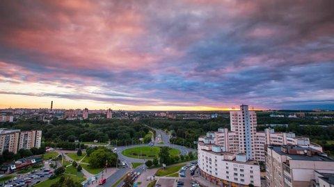 Minsk Bangalore square Cloudy sunset Timelapse 4K