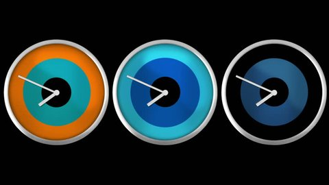 3 Design wall clocks. 12 hours time lapsed, you can choose any hour or minute. Loopable. Alpha matte. Multicolored. 1 frame per minute.