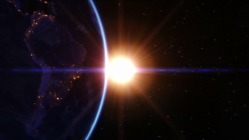 Sunrise Over North America Locked Down Earth