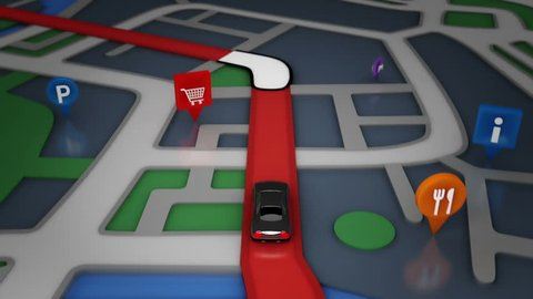 Car moving forward in a GPS navigator. Gray and red. 4 videos in 1 file. Riding through different points: restaurants, supermarkets, hotels, etc.
