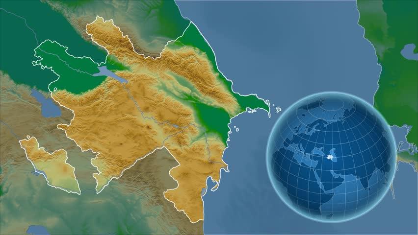 Azerbaijan Shape Animated On The Elevation Map Of The Globe - Globe elevation