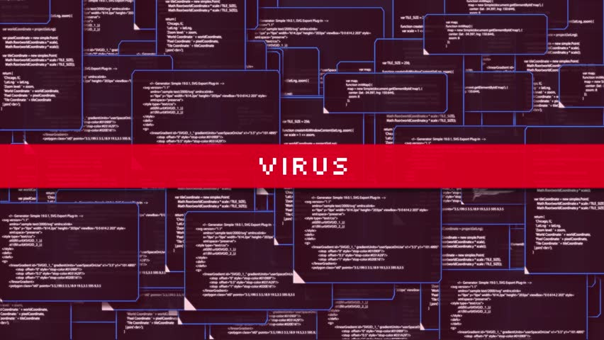 Animation of computer monitor screen showing windows folder source code and text VIRUS sign warning and blinking that the system had been hacked or infected by network virus in 4k ultra HD