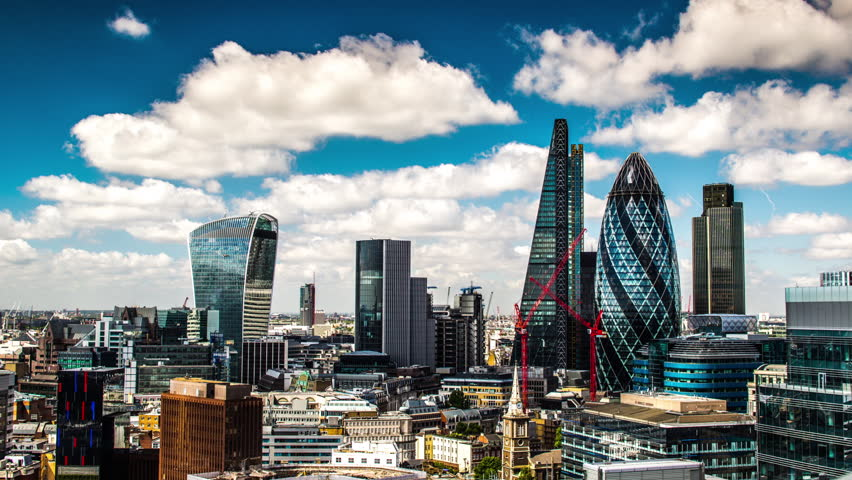 timelapse view of amazing london skyline on a sunny day, shot from a unique high vantage point