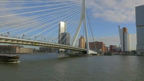 Erasmus bridge and Rotterdam Skyline the Netherlands - 4K Ultra HD