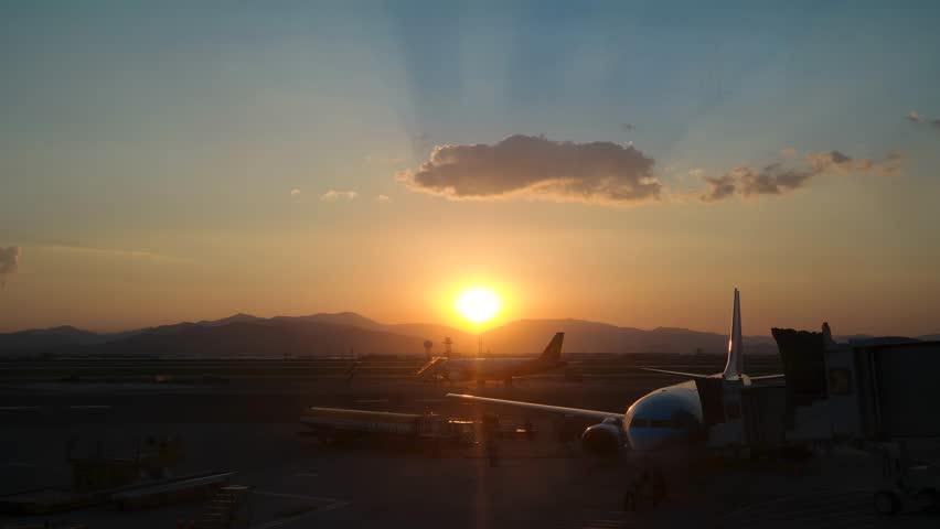 4K timelapse of sunset taken in South Korea airport | Shutterstock HD Video #13897949