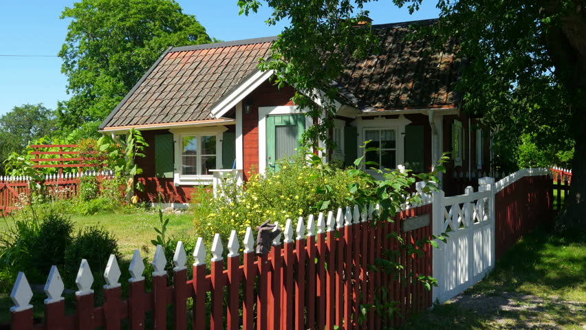 houses of scandinavian countryside village near stockholm, sweeden