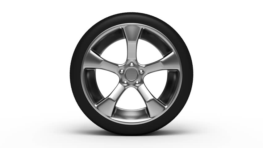 Aluminum wheel with tire rotation. Seamless loop.