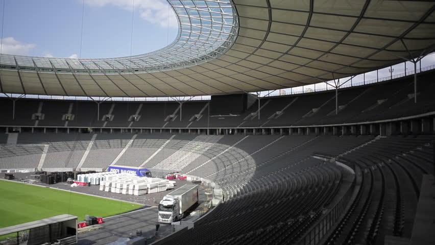 germany circa july 2015 olympic stadium empty bleachers berlin germany hd