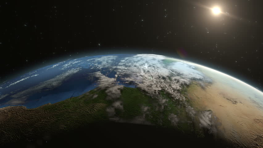 Sunrise over Earth night lights to day panoramic view | Shutterstock HD Video #13986389