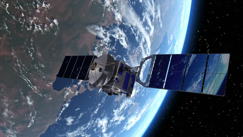 Satellite Deploys Solar Panels In Space. 3D Animation.