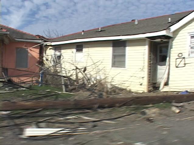 A neighborhood shows the destruction caused by Hurricane Katrina.