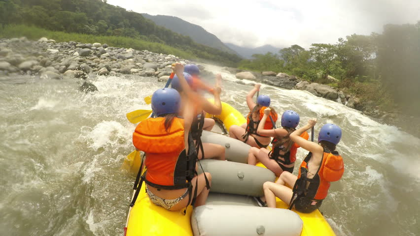 Team Of Young Adult Women On White Water Rafting Pilot Giving Commands With Sound  | Shutterstock HD Video #14006552
