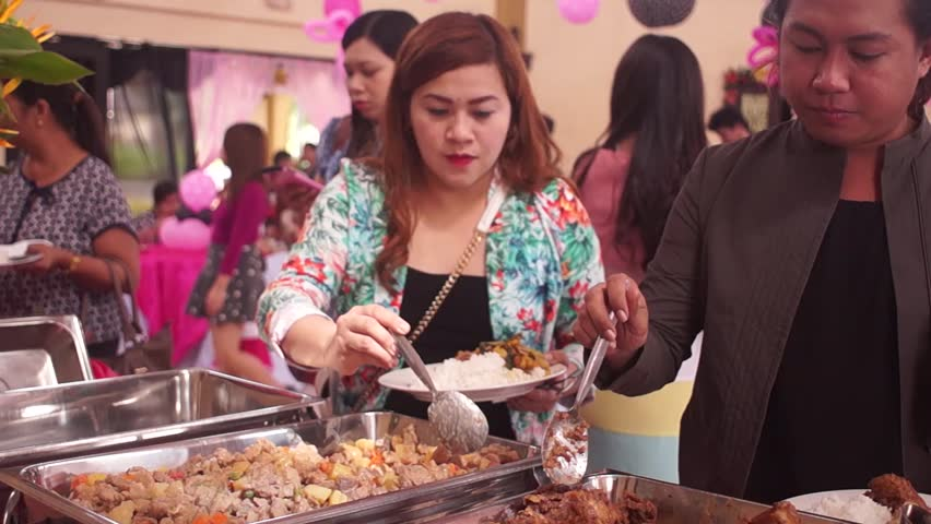Ordinary Dinner Party Video Part - 11: SAN PABLO CITY, LAGUNA, PHILIPPINES - JANUARY 13, 2016: Catering Service  Serves