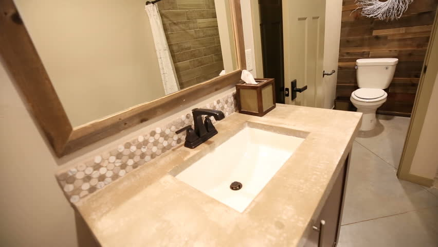 Stock video of modern master bathroom pan from sink | 14021669 ...