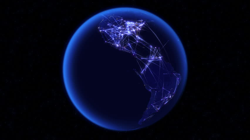 Global communications through the global network of connections. Concept of internet, social media, traveling or logistics. High resolution texture of city lights at night. 4k - Ultra HD.