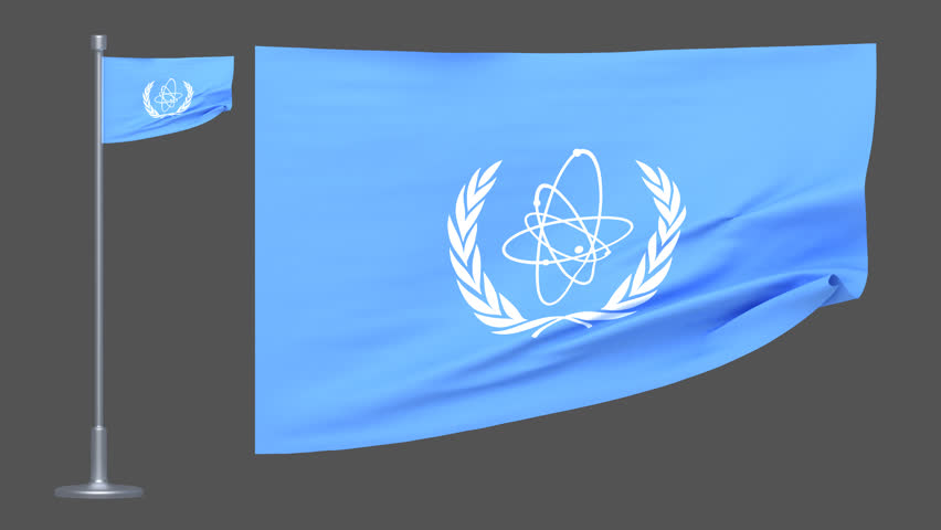 4k loopable 3d rendered  International Atomic Energy Agency flag animation with alpha channel