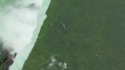 Aerial shots above Niagara Falls in the morning light