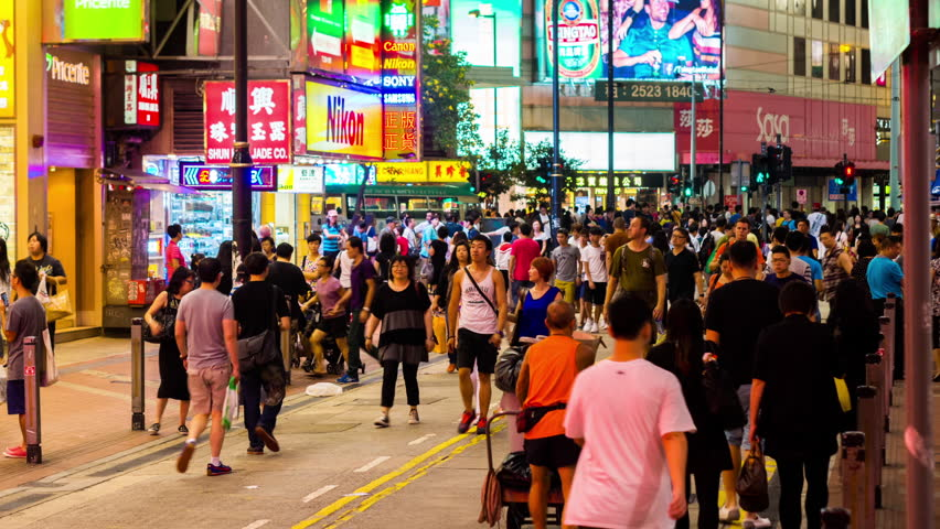 HONG KONG - 13 SEPT 2013: Timelapse view of people on the streets Hong Kong city at Causway Bay. Hong Kong is a major financial hub in the Asia region on 13 September 2013 in Hong Kong, China | Shutterstock HD Video #14084759