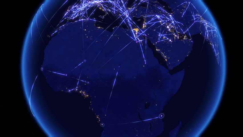 Global communications through the network of connections over Africa. Concept of internet, social media, traveling. High resolution texture of city lights. 4k.