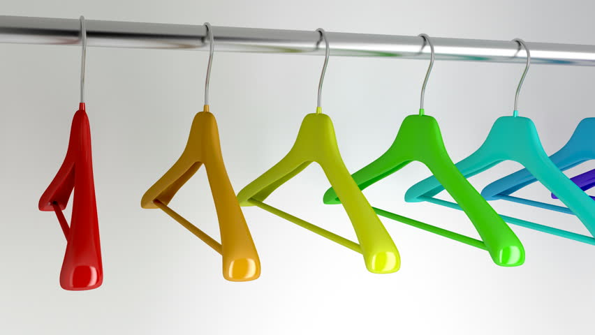 Hangers with different colors in the closet