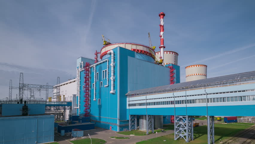 The Kalinin nuclear power plant. The building of the unit. Timelapse 4k.