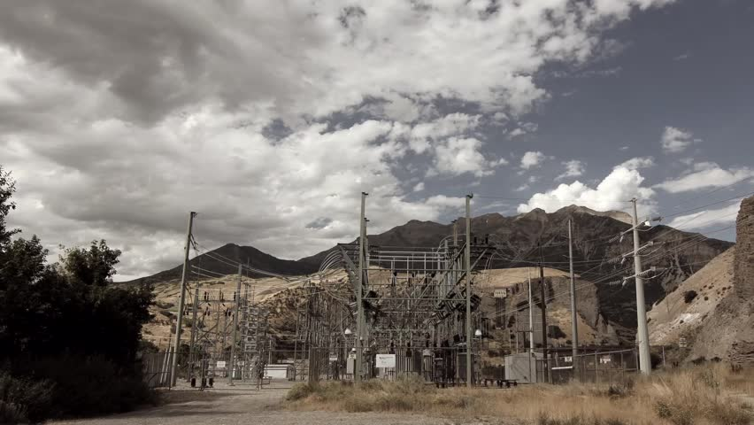 A time lapse of a mountain power substation