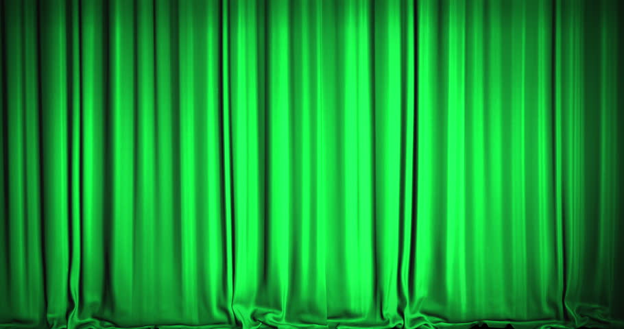 A Green Velvet Curtain Opening In A Movie Theater. An Alpha Matte Is  Included As