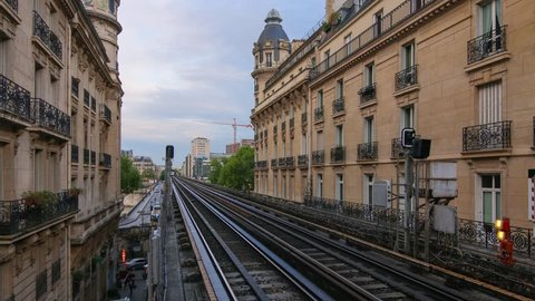 PARIS - MAY 2015: Subway train on Passy station