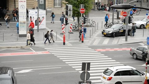 Time Lapse of Busy Traffic Intersection Downtown Luxembourg City - Luxembourg - Circa November 2015