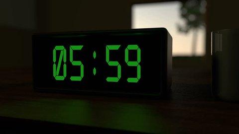 Alarm clock at 6:00 a.m.