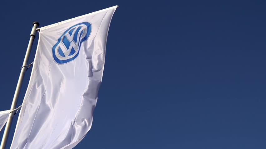 MOERS / GERMANY - JANUARY 28 2016 : Volkswagen flag waving in the wind