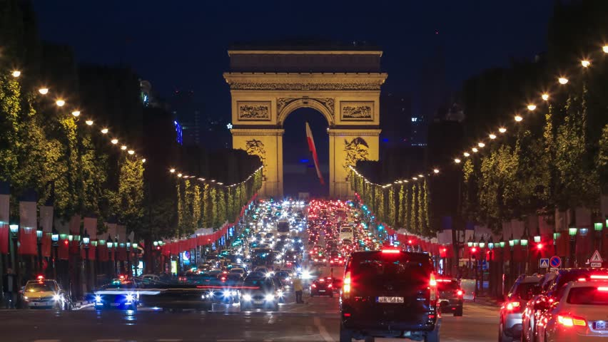 PARIS - MAY 2015: Traffic on Champs Elysees at night | Shutterstock HD Video #14205476