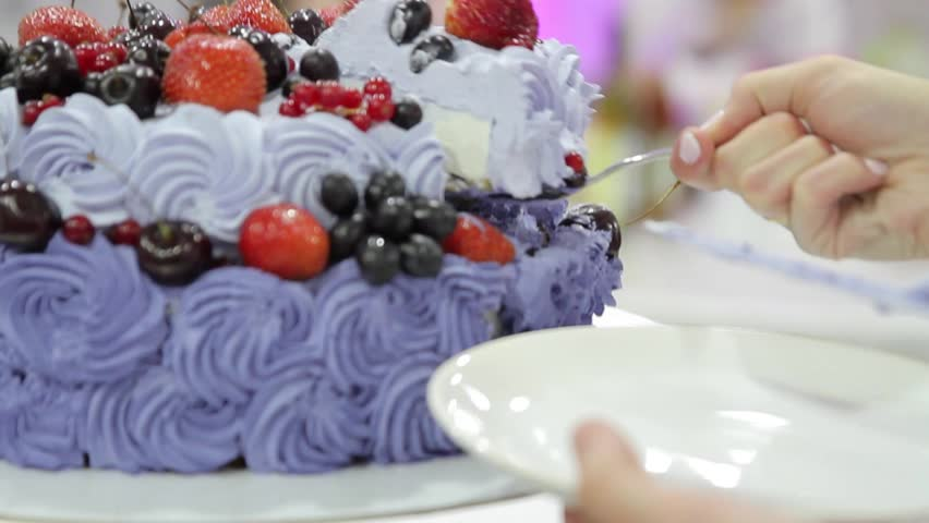 Man Cutting Cake With Strawberries Stock Footage Video 1008026386