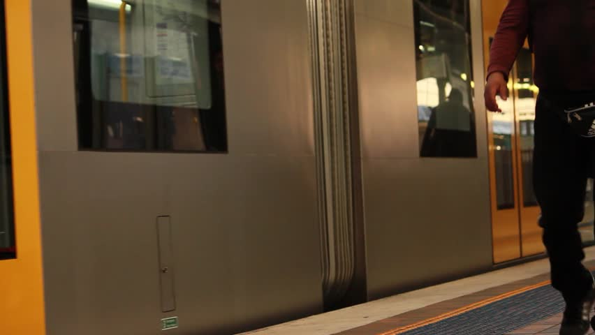 Train Leaving Station - HD stock footage clip & Close Up Group Of People Entering Public Building Moving Door ...