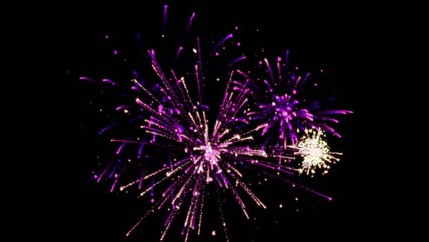 3 short fireworks with Alpha Channel (4k)