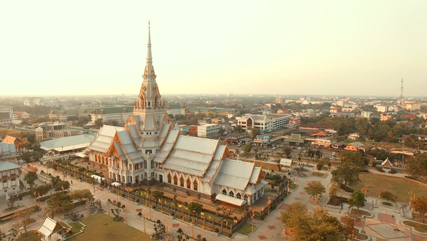 Aerial view of wat sothorn temple in chachengsao province eastern of thailand important buddhist religion church landmark in thailand | Shutterstock HD Video #14229929