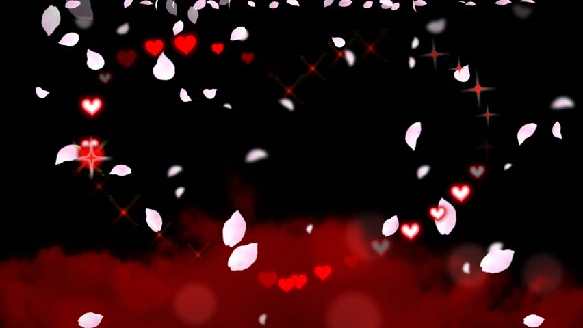 Animated Drawing Of A Valentines Day / Wedding Heart Shape With Chasing  Sparkles And Hearts, Pink Flower Petals Falling, And Red Clouds Below    Animated ...