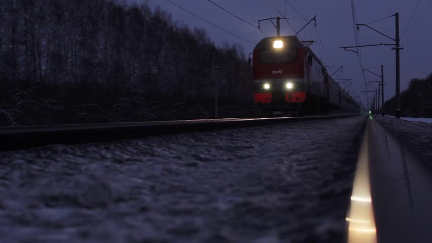 Novosibirsk region, Russia - December 4, 2015: Passenger train, Trans-Siberian Railway
