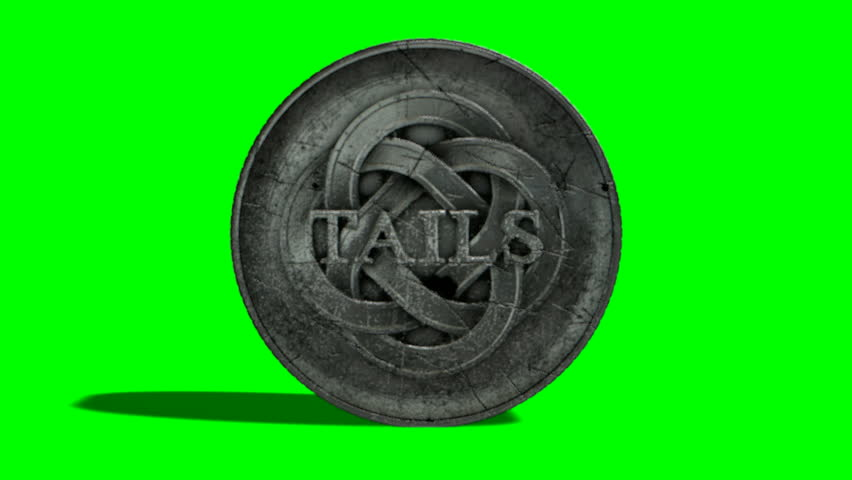 A worn antique silver coin with a heads and tails side spinning on a green screen background | Shutterstock HD Video #14265119
