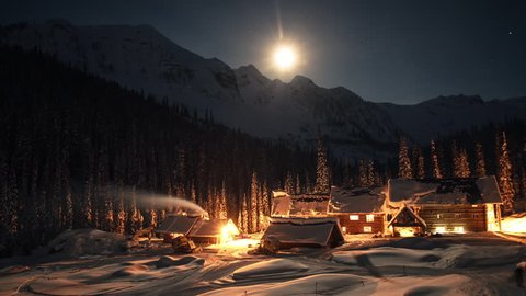 WS T / L Chatter Creek lodges covered with snow / Canada