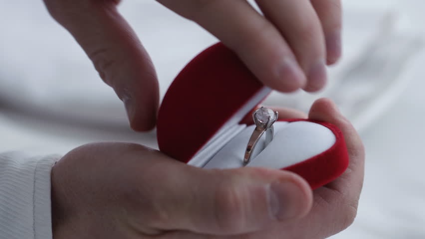 Open Ring Box with Diamond Ring