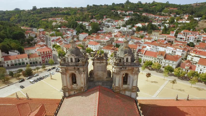 Aerial Alcobaca Monastery Community Mediaeval Roman Catholic Architecture Tower Portugal Drone Footage City Porto Famous History Europe Travel Gothic Landscape