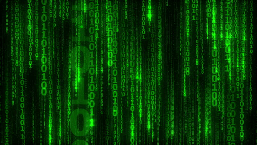Cyberspace with green digital falling lines, binary chain, abstract animated background - seamless loop | Shutterstock HD Video #14340787