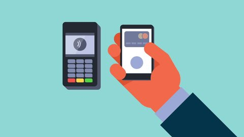 Mobile payment animation. Male hand holding mobile phone and making mobile payment. NFC technology.