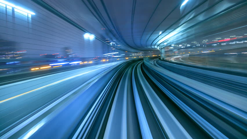4K Timelapse of automatic train moving to tunnel, Tokyo, Japan  | Shutterstock Video #14373655