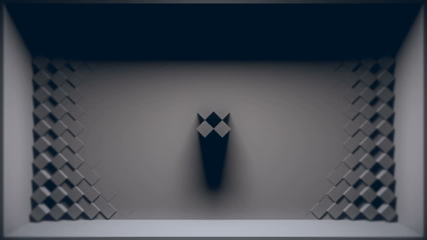 3D room where back wall is penetrated with animated 45 degree rotated cube shapes. Looping animation.